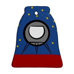 A Rocket Ship Sits On A Red Planet With Gold Stars In The Background Bell Ornament (two Sides) by Simbadda