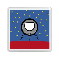 A Rocket Ship Sits On A Red Planet With Gold Stars In The Background Memory Card Reader (square)  by Simbadda