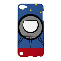 A Rocket Ship Sits On A Red Planet With Gold Stars In The Background Apple Ipod Touch 5 Hardshell Case by Simbadda