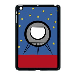 A Rocket Ship Sits On A Red Planet With Gold Stars In The Background Apple Ipad Mini Case (black) by Simbadda
