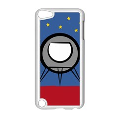 A Rocket Ship Sits On A Red Planet With Gold Stars In The Background Apple Ipod Touch 5 Case (white)