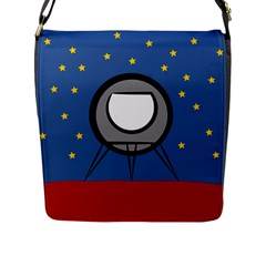 A Rocket Ship Sits On A Red Planet With Gold Stars In The Background Flap Messenger Bag (l)  by Simbadda