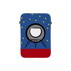 A Rocket Ship Sits On A Red Planet With Gold Stars In The Background Apple Ipad Mini Protective Soft Cases by Simbadda