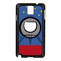 A Rocket Ship Sits On A Red Planet With Gold Stars In The Background Samsung Galaxy Note 3 N9005 Case (black) by Simbadda