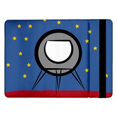 A Rocket Ship Sits On A Red Planet With Gold Stars In The Background Samsung Galaxy Tab Pro 12 2  Flip Case by Simbadda