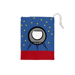 A Rocket Ship Sits On A Red Planet With Gold Stars In The Background Drawstring Pouches (small)  by Simbadda