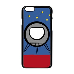 A Rocket Ship Sits On A Red Planet With Gold Stars In The Background Apple Iphone 6/6s Black Enamel Case by Simbadda