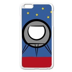 A Rocket Ship Sits On A Red Planet With Gold Stars In The Background Apple Iphone 6 Plus/6s Plus Enamel White Case