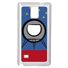 A Rocket Ship Sits On A Red Planet With Gold Stars In The Background Samsung Galaxy Note 4 Case (white) by Simbadda