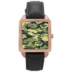 Camouflage Camo Pattern Rose Gold Leather Watch  by Simbadda