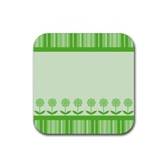 Floral Stripes Card In Green Rubber Coaster (square)