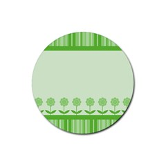 Floral Stripes Card In Green Rubber Coaster (round)  by Simbadda