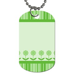 Floral Stripes Card In Green Dog Tag (one Side) by Simbadda