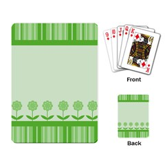 Floral Stripes Card In Green Playing Card by Simbadda