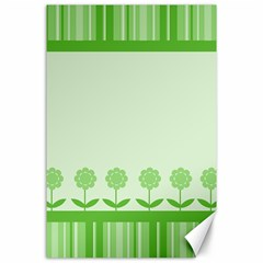 Floral Stripes Card In Green Canvas 24  X 36