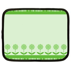 Floral Stripes Card In Green Netbook Case (large) by Simbadda