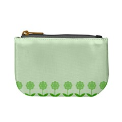 Floral Stripes Card In Green Mini Coin Purses