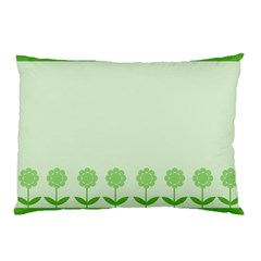 Floral Stripes Card In Green Pillow Case (two Sides) by Simbadda