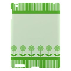 Floral Stripes Card In Green Apple Ipad 3/4 Hardshell Case by Simbadda