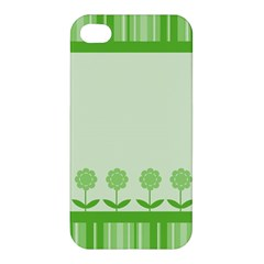 Floral Stripes Card In Green Apple Iphone 4/4s Premium Hardshell Case by Simbadda
