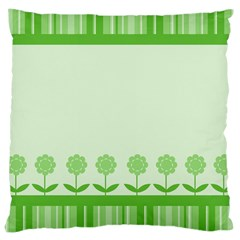 Floral Stripes Card In Green Large Cushion Case (two Sides) by Simbadda