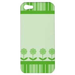 Floral Stripes Card In Green Apple Iphone 5 Hardshell Case by Simbadda