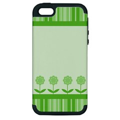 Floral Stripes Card In Green Apple Iphone 5 Hardshell Case (pc+silicone)