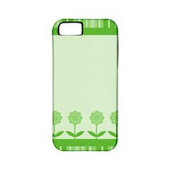 Floral Stripes Card In Green Apple Iphone 5 Classic Hardshell Case (pc+silicone) by Simbadda