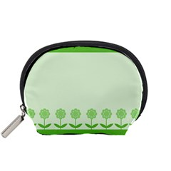 Floral Stripes Card In Green Accessory Pouches (small)  by Simbadda