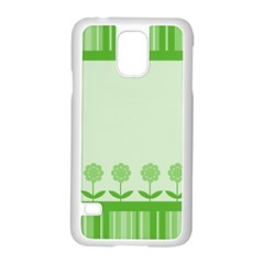 Floral Stripes Card In Green Samsung Galaxy S5 Case (white) by Simbadda