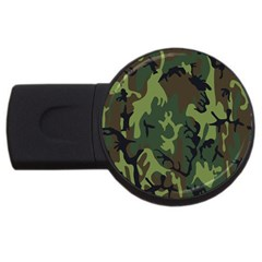 Military Camouflage Pattern Usb Flash Drive Round (4 Gb) by Simbadda