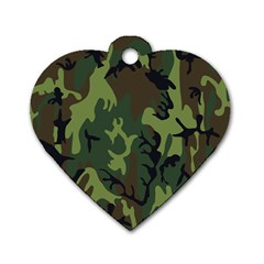 Military Camouflage Pattern Dog Tag Heart (two Sides) by Simbadda