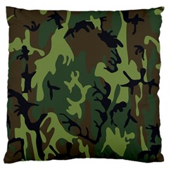 Military Camouflage Pattern Large Cushion Case (one Side) by Simbadda