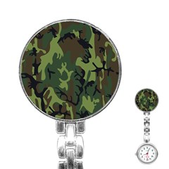 Military Camouflage Pattern Stainless Steel Nurses Watch