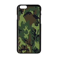 Military Camouflage Pattern Apple Iphone 6/6s Black Enamel Case by Simbadda