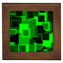 Green Cyber Glow Pattern Framed Tiles by Simbadda