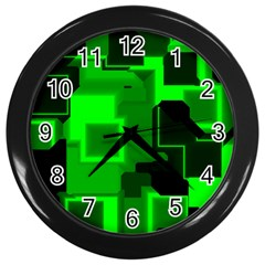 Green Cyber Glow Pattern Wall Clocks (black) by Simbadda