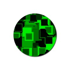 Green Cyber Glow Pattern Rubber Coaster (round)  by Simbadda