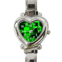 Green Cyber Glow Pattern Heart Italian Charm Watch by Simbadda