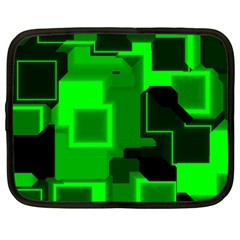 Green Cyber Glow Pattern Netbook Case (large) by Simbadda