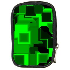 Green Cyber Glow Pattern Compact Camera Cases by Simbadda