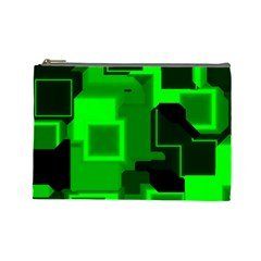 Green Cyber Glow Pattern Cosmetic Bag (large)  by Simbadda