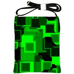 Green Cyber Glow Pattern Shoulder Sling Bags by Simbadda
