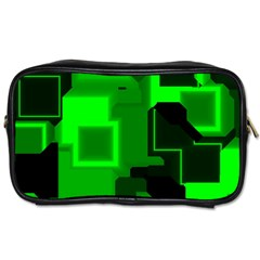 Green Cyber Glow Pattern Toiletries Bags 2 Side by Simbadda