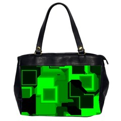 Green Cyber Glow Pattern Office Handbags (2 Sides)  by Simbadda