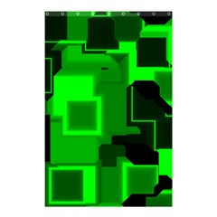 Green Cyber Glow Pattern Shower Curtain 48  X 72  (small)  by Simbadda