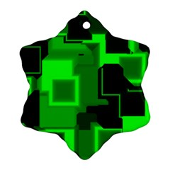 Green Cyber Glow Pattern Ornament (snowflake)