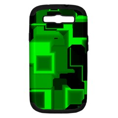 Green Cyber Glow Pattern Samsung Galaxy S Iii Hardshell Case (pc+silicone) by Simbadda