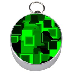 Green Cyber Glow Pattern Silver Compasses by Simbadda