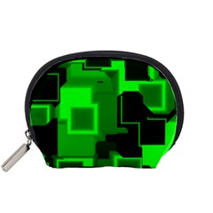 Green Cyber Glow Pattern Accessory Pouches (small)  by Simbadda